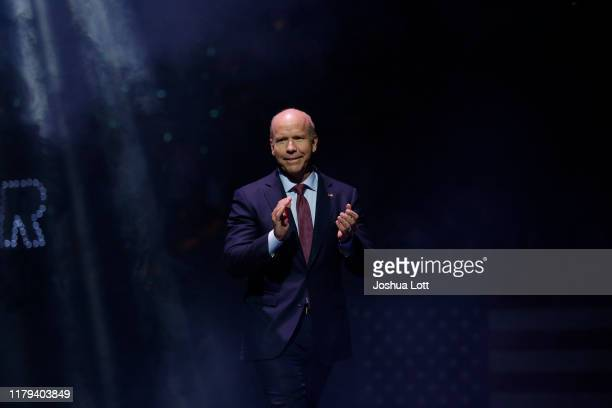 Democratic presidential candidate and former Rep. John Delaney arrives during The Iowa Democratic Party Liberty & Justice Celebration on November 1,...