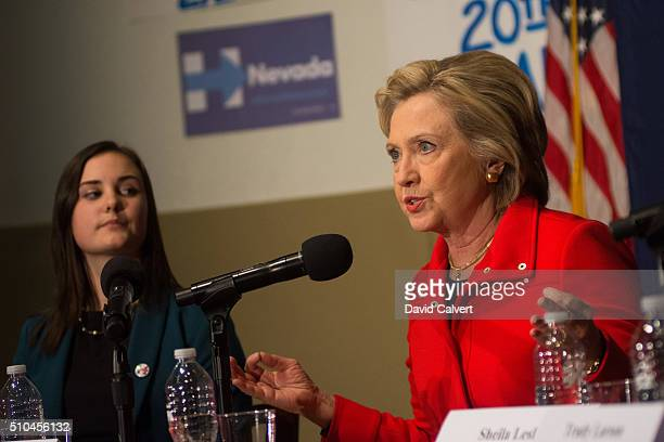 Democratic Presidential candidate and former Secretary of State Hillary Clinton speaks on a panel about women's health at the University of Nevada...