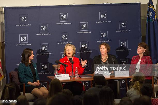 Democratic Presidential candidate and former Secretary of State Hillary Clinton speaks on a panel about women's health with UNR Students for Hillary...