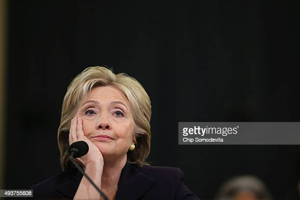 Democratic presidential candidate and former Secretary of State Hillary Clinton testifies before the House Select Committee on Benghazi October 22,...