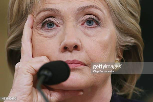 Democratic presidential candidate and former Secretary of State Hillary Clinton testifies before the House Select Committee on Benghazi October 22...