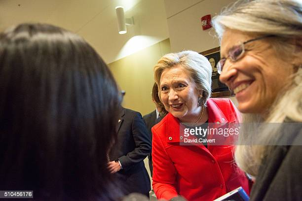 Democratic Presidential candidate and former Secretary of State Hillary Clinton greets supporters following a panel about women's health at the...