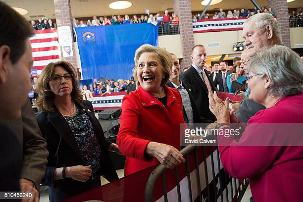 Democratic Presidential candidate and former Secretary of State Hillary Clinton greet supporters following a campaign rally at Truckee Meadows...