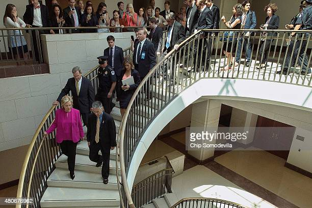 Democratic presidential candidate and former Secretary of State Hillary Clinton heads to a meeting with the Congressional Progressive Caucus at the...