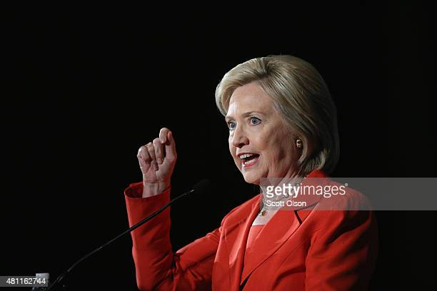 Democratic presidential candidate and former Secretary of State Hillary Clinton speaks to guests at the Iowa Democratic Party's Hall of Fame Dinner...