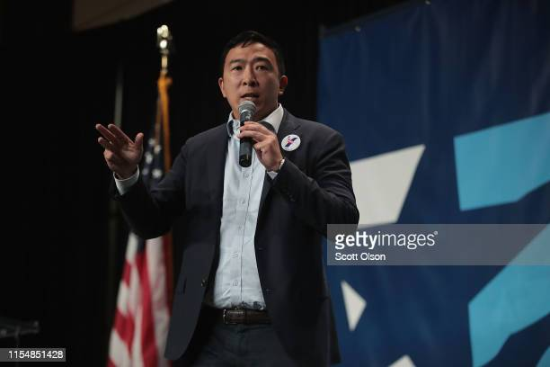 Democratic presidential candidate and former tech executive Andrew Yang speaks at the Iowa Democratic Party's Hall of Fame Dinner on June 9 2019 in...