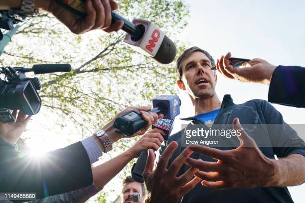 Democratic presidential candidate and former US Rep Beto O'Rourke speaks to the press after taking part in a Pride month run June 12 2019 in New York...