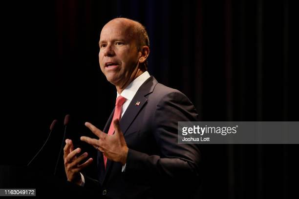Democratic presidential candidate and former U.S. Rep. John Delaney speaks at the Iowa Federation Labor Convention on August 21, 2019 in Altoona,...
