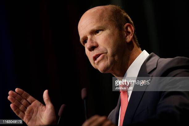 Democratic presidential candidate and former US Rep John Delaney speaks at the Iowa Federation Labor Convention on August 21 2019 in Altoona Iowa...