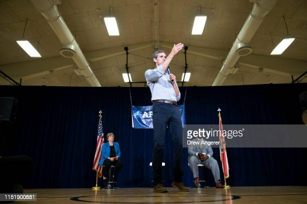 Democratic presidential candidate and former US Representative Beto O'Rourke speaks during a town hall event for members of the American Federation...