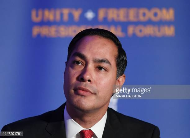 Democratic presidential candidate and former US Secretary of Housing and Urban Development Julian Castro addresses Immigrantrights organizations at...