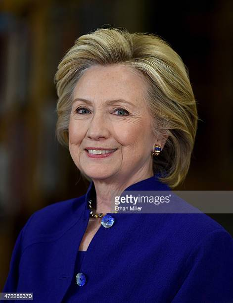 Democratic presidential candidate and former U.S. Secretary of State Hillary Clinton smiles as she speaks at Rancho High School on May 5, 2015 in Las...