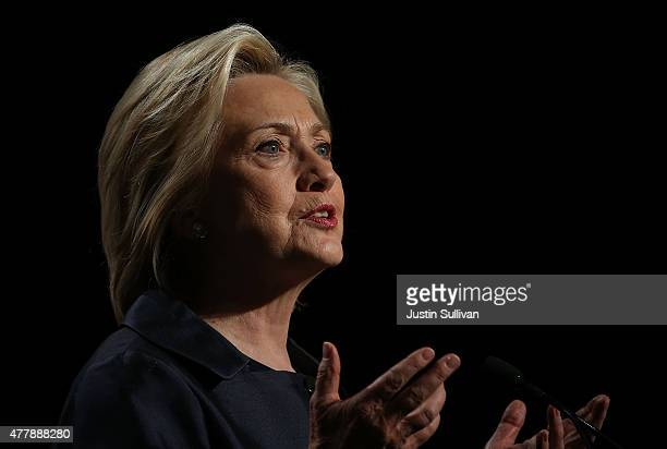 Democratic presidential candidate and former US Secretary of State Hillary Clinton speaks during the 2015 United States Conference of Mayors on June...