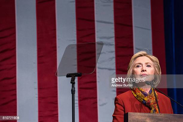 Democratic presidential candidate and former US Secretary of State Hillary Clinton gives an address at the Schomburg Center for Research in Black...