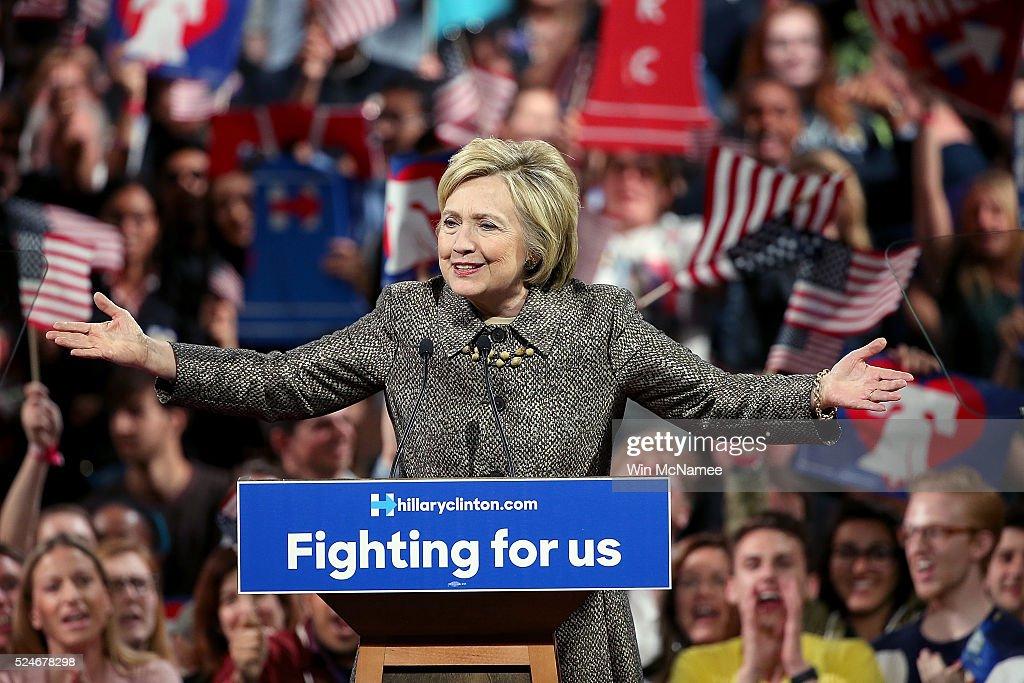Hillary Clinton Holds Pennsylvania Primary Night Event In Philadelphia : News Photo