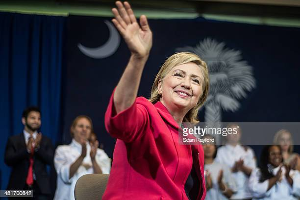 Democratic Presidential candidate and former US Secretary of the State Hillary Clinton holds a forum at Greenville Technical College on July 23 2015...