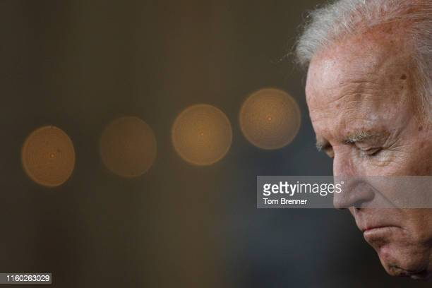 Democratic presidential candidate and former US Vice President Joe Biden delivers remarks about White Nationalism during a campaign press conference...