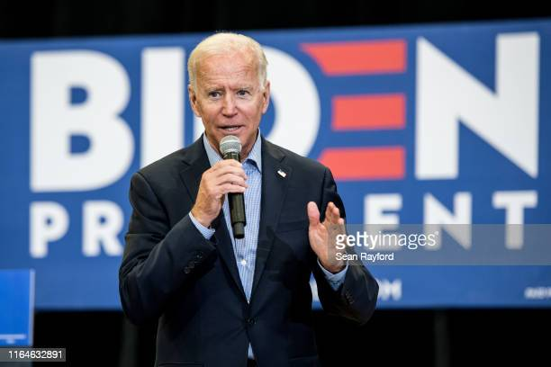 Democratic presidential candidate and former US Vice President Joe Biden addresses a crowd at a town hall event at Clinton College on August 29 2019...