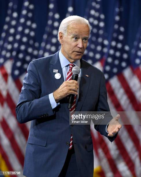 Democratic presidential candidate and former U.S. Vice President Joe Biden speaks during the 2020 Gun Safety Forum hosted by gun control activist...