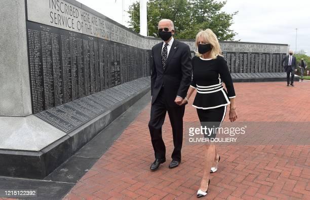Democratic presidential candidate and former US Vice President Joe Biden with his wife Jill Biden leave the Memorial Day at Delaware Memorial Bridge...