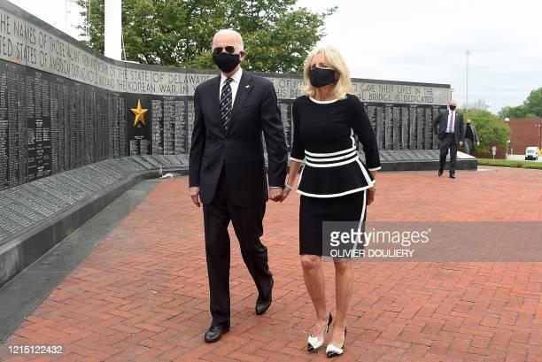 Democratic presidential candidate and former US Vice President Joe Biden and his wife Jill Biden leave the Memorial Day at Delaware Memorial Bridge...