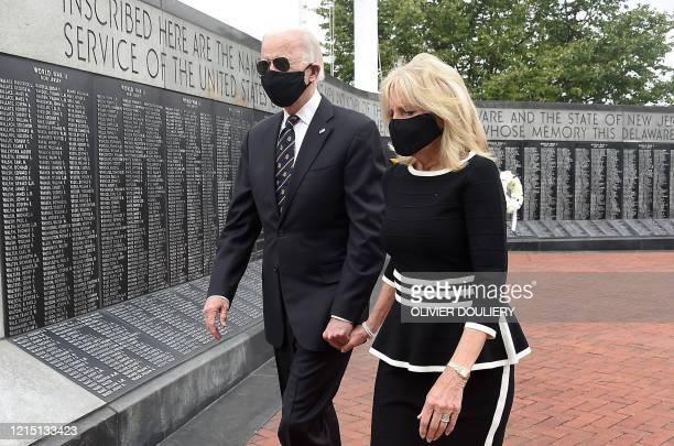 Democratic presidential candidate and former US Vice President Joe Biden and his wife Jill Biden leave Delaware Memorial Bridge Veteran's Memorial...