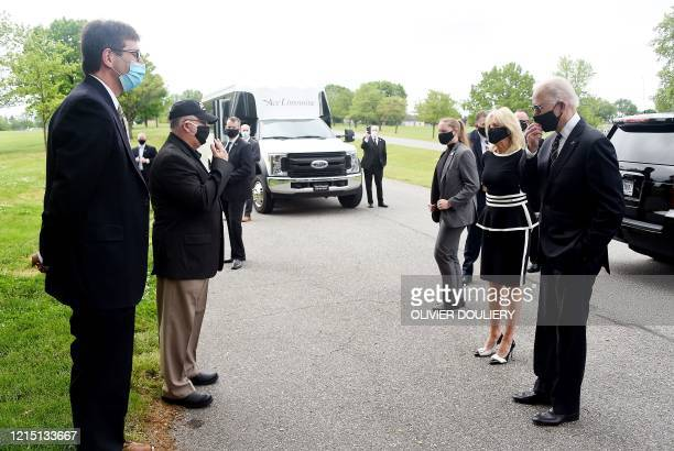 Democratic presidential candidate and former US Vice President Joe Biden and his wife Jill Biden speak to Matt Meyer County Executive of New Castle...