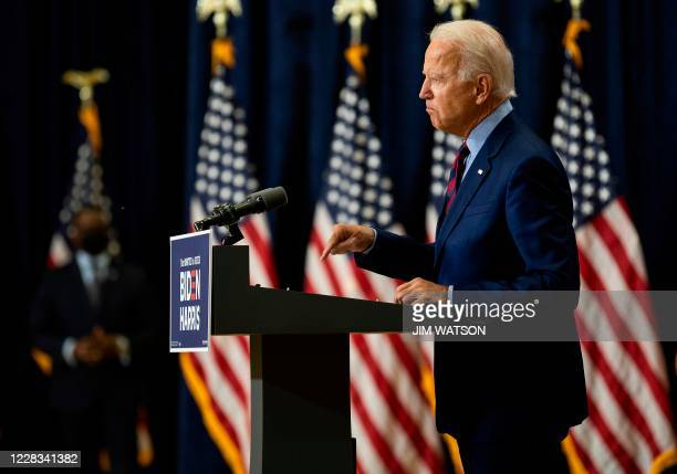 Democratic presidential candidate and former US Vice President Joe Biden speaks on the state of the US economy on September 4 in Wilmington, Delaware.