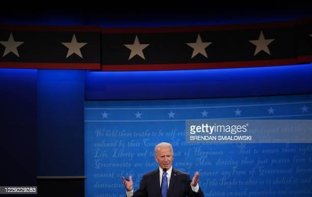 Democratic Presidential candidate and former US Vice President Joe Biden speaks during the final presidential debate at Belmont University in...