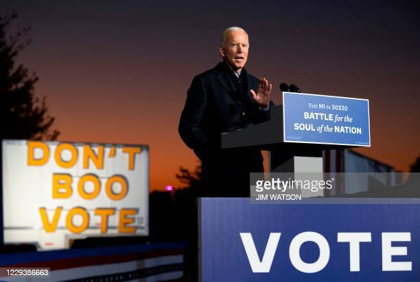 Democratic Presidential candidate and former US Vice President Joe Biden speaks during a mobilization event at Belle Isle Casino in Detroit,...