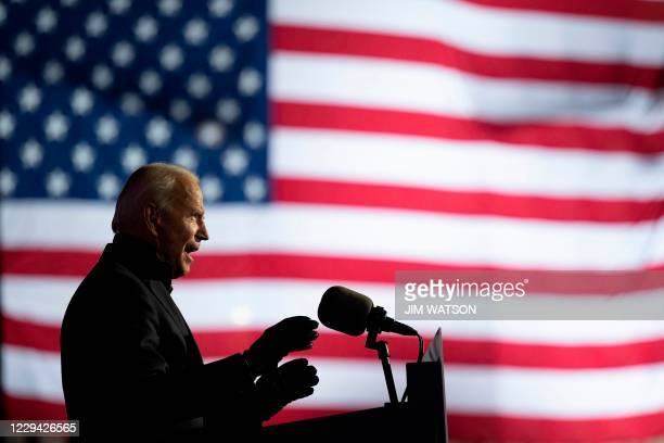 Democratic Presidential candidate and former US Vice President Joe Biden speaks during a Drive-In Rally at Heinz Field in Pittsburgh, Pennsylvania,...