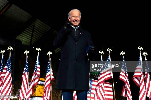 Democratic Presidential candidate and former US Vice President Joe Biden gestures after speaking during a Drive-In Rally at Heinz Field in...