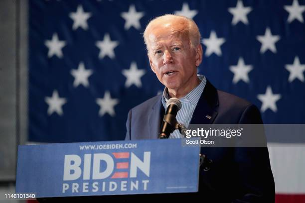Democratic presidential candidate and former vice president Joe Biden holds a campaign event at the Veterans Memorial Building on April 30 2019 in...