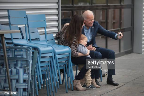 Democratic presidential candidate and former vice president Joe Biden greets guests following a campaign event at the Big Grove Brewery and Taproom...