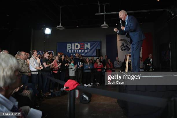 Democratic presidential candidate and former vice president Joe Biden speaks during a campaign event at the Big Grove Brewery and Taproom on May 1,...