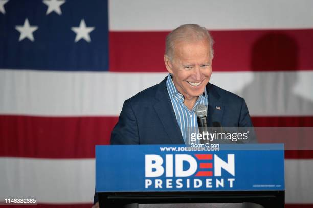 Democratic presidential candidate and former vice president Joe Biden speaks to guests during a campaign event at Big Grove Brewery and Taproom on...