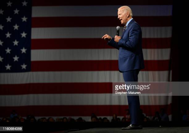 Democratic presidential candidate and former Vice President Joe Biden speaks on stage during a forum on gun safety at the Iowa Events Center on...