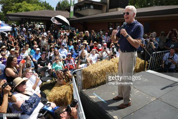 Democratic presidential candidate and former Vice President Joe Biden delivers a 20minute campaign speech at the Des Moines Register Political...