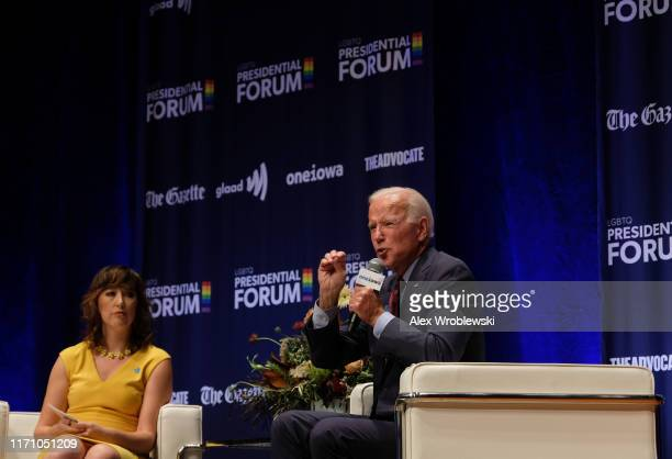 Democratic presidential candidate and former Vice President Joe Biden speaks at the Presidential Candidate Forum on LGBTQ Issues at the Sinclair...
