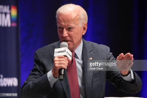 Democratic presidential candidate and former vice president Joe Biden speaks at a LGBTQ presidential forum at Coe College's Sinclair Auditorium on...