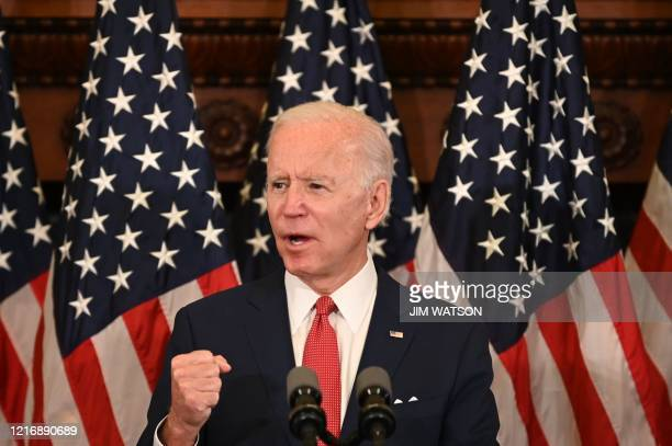 Democratic presidential candidate and former Vice President Joe Biden speaks about the unrest across the country from Philadelphia City Hall on June...