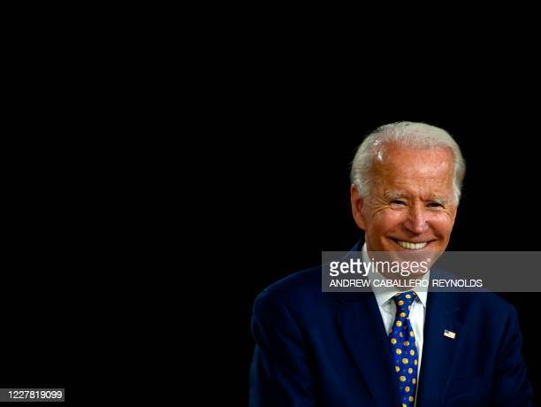 US Democratic presidential candidate and former Vice President Joe Biden smiles as he speaks during a campaign event at the William Hicks Anderson...