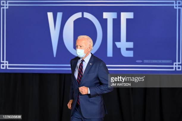 Democratic Presidential candidate and former Vice President Joe Biden arrives to delivers remarks at a voter mobilization event in Cincinnati, Ohio,...