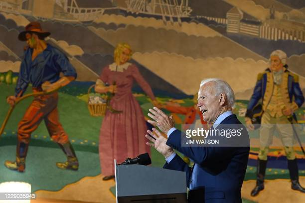 Democratic Presidential candidate and former Vice President Joe Biden delivers remarks at a voter mobilization event in Cincinnati, Ohio, on October...