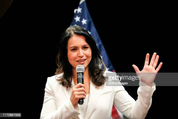 Democratic Presidential Candidate and Hawaii Congresswoman Tulsi Gabbard seen speaking during her political campaign at in Nashua, New Hampshire.