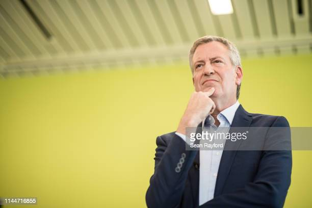 Democratic presidential candidate and New York City Mayor Bill de Blasio listens to a question during a Democratic Black Caucus Meeting on May 18...