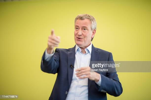 Democratic presidential candidate and New York City Mayor Bill de Blasio talks to the crowd at a Democratic Black Caucus Meeting on May 18 2019 in...