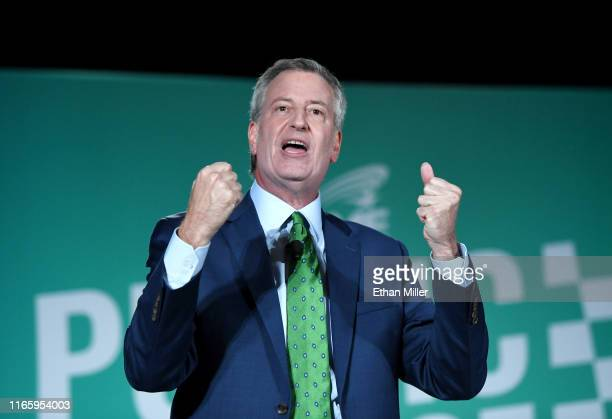 Democratic presidential candidate and New York City Mayor Bill de Blasio speaks during the 2020 Public Service Forum hosted by the American...