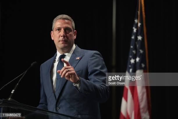 Democratic presidential candidate and Ohio congressman Tim Ryan speaks at the Iowa Democratic Party's Hall of Fame Dinner on June 9, 2019 in Cedar...