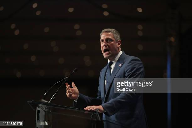 Democratic presidential candidate and Ohio congressman Tim Ryan speaks at the Iowa Democratic Party's Hall of Fame Dinner on June 9 2019 in Cedar...